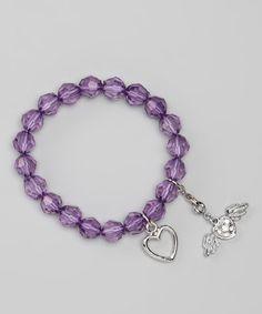 Another great find on #zulily! Purple Winged Heart Charm Stretch Bracelet by Sugar & Vine #zulilyfinds
