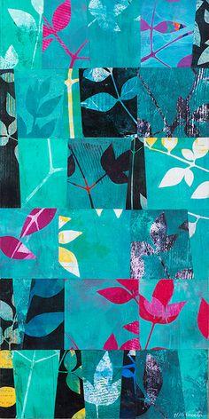 "Shift 18, ©2015, 12″ x 24,"" Monoprint collage"