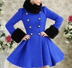 high quality blue Wool Coat Women Dress Girls long by yuebing