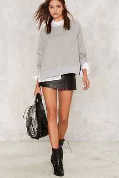 Nasty Gal Wear and Tear Slit Sweatshirt - Clothes | Grunge | Basics | Tops
