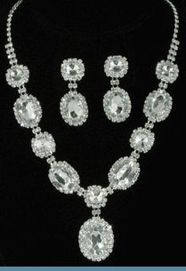 Vintage Style Clear Rhinestone Necklace and Earrings @ www.whimzaccessories.com $24 comes assorted colors
