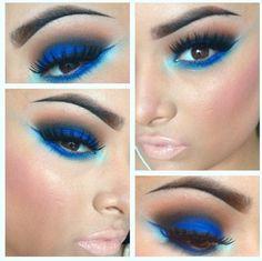 Blue eye shadow with soft lashes <3 <3