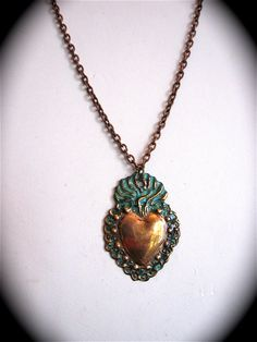 milagro necklace | Copper SACRED HEART Intricate Milagro Necklace- Perfect gift for your ...