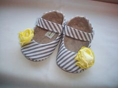 MOLLY baby girl shoes. Gray and White Stripe with by HarperDaisy, $27.95