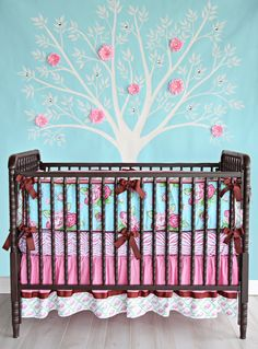 Blue & pink nursery wall with white tree, flowers and diamonds