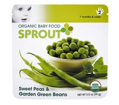 Sprout baby food by Tyler Florence. Organic food with grown up flavors. My 2 1/2 year old LOVES the peas and green beans with mint.