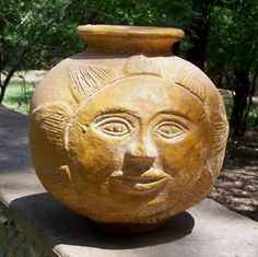 Great Green Apple is delighted to present this whimsical sun face pot. It is Mexican clay pottery fired over wood. Mexican Garden, Face Jugs, Rustic Patio, Mexico Art, South Of The Border, Ceramic Design, Mexican Style, Moon Art, Clay Creations