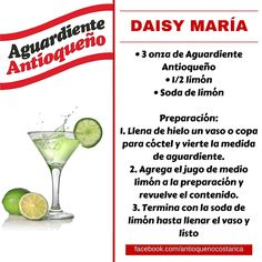 ¡Aguardiente Antioqueño combina con todo! #Aguardiente #Antioqueño #Coctel #Cocktail #DaisyMaria Party Drinks, Cocktail Drinks, Fun Drinks, Cocktail Recipes, Beverages, Vodka, Tequila, Fonda Paisa, Detox