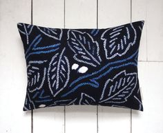 Indigo Vintage Japanese Kimono Fabric Lumbar Pillow by LynnWatt