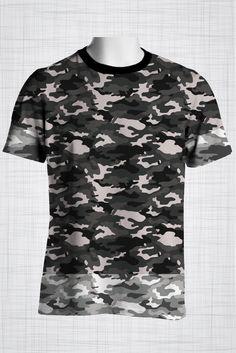 Plus Size Men's Clothing Camo grey, light edges t-shirt