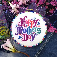 Happy Mothers Day cross stitch pattern by Lucky Star Stitches.