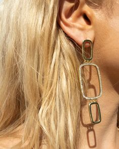 Blair Chain Statement Earrings- Gold | Luv Aj