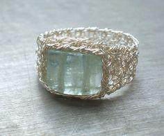 Aquamarine Ring Fine Silver Wire Crochet Ring by vivart70 on Etsy, $48.00