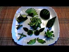10 LIFE HACKS HOW TO MAKE CUCUMBER FLOWER GARNISH DESIGN & ART IN CUCUMBER - VEGETABLE CARVING - YouTube