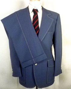vtg 60s Britt's retro Blue / White Trim 2 Pc Textured Polyester Suit Flare 42 R