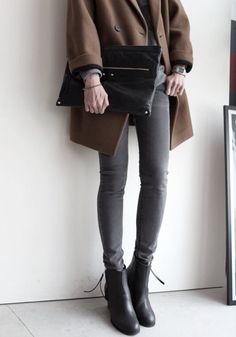 Casual Chic - grey jeggings, brown coat, ankle boots & clutch