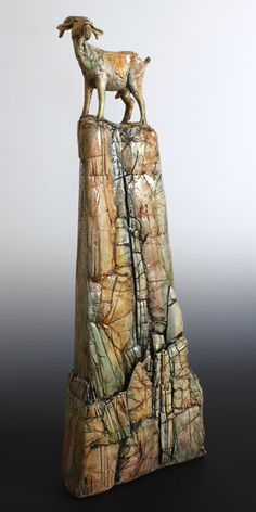Goat on a Cliff - Annie Peaker contemporary figurative ceramics Pottery Animals, Ceramic Animals, Clay Animals, Sculpture Projects, Sculpture Clay, Ceramic Sculptures, Pottery Designs, Pottery Art, Goat Art