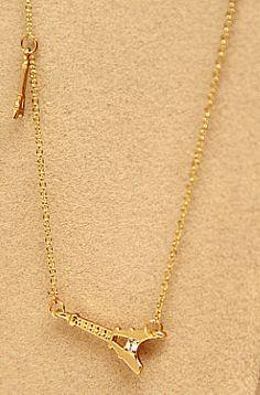 Gold Diamond Pylon Chain Necklace US$4.70