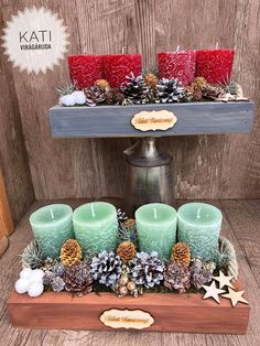 Christmas Crafts, Christmas Decorations, Table Decorations, Christmas Ornaments, Xmas Wreaths, Craft Activities, Projects To Try, Candles, Flower Arrangements