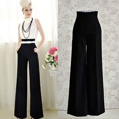 Women Trousers High Waist Long Pants Casual Flare Wide Leg Trousers Business UK | Clothes, Shoes & Accessories, Women's Clothing, Trousers | eBay!