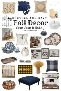 Neutral and navy Fall decor that come together to create a classic and cozy space. Stock your home with these neutral and navy Fall decor items to create a cozy space that will last all season long. Blue Fall Decor, Fall Home Decor, Autumn Home, Fall Apartment Decor, Fall Living Room, Living Room Decor, Dining Room, Classic Home Decor, Home And Deco