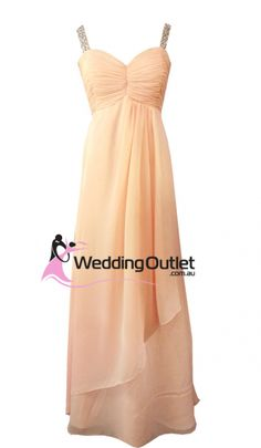 Apricot Peach Evening Gown or Bridesmaid Dress Style. Custom made with choice of colour Rainbow Prom Dress, Rainbow Bridesmaid Dresses, Peach Bridesmaid Dresses, Peach Dresses, Bridesmaid Ideas, Wedding Bridesmaids, Chiffon Wedding Gowns, Cheap Wedding Dress, Bridal Gowns