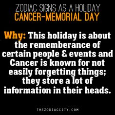 Zodiac Signs As A Holiday, Cancer - Memorial Day.