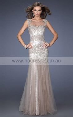 Tulle Jewel Natural A-line Floor-length Evening Dresses abaa1036--Hodress