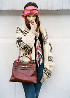 love the scarf as the Hermes Kelly bag handle.