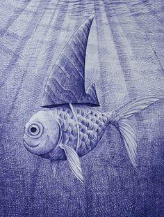 Løfberg - The goldfish shark - Turquoise Art, Nordic Design, Frame It, Blue Walls, Goldfish, Shark, Furniture Design, Crafts, Kunst