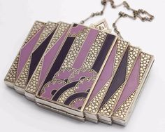 c.1930s vintage EVANS ART DECO ENAMELED COMPACT w/Chain - Purple & Chrome