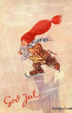 Merry Christmas And Happy New Year, Christmas Elf, Christmas Cards, Norwegian Christmas, Scandinavian Christmas, Vintage Postcards, Gnomes, Elves, Christmas Postcards