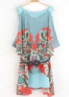 ✌ Bohemian Style Printed Chiffon Patchwork Round Neck Dress | martofchina.com~