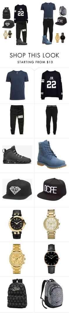 """which one"" by arkward-poop on Polyvore featuring H&M, Hollister Co., McQ by Alexander McQueen, Timberland, Versace, Michael Kors, Lacoste, CLUSE, Vans and NIKE"