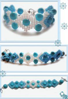 Beading Tutorials, Seed Beads, Turquoise Bracelet, Crochet Necklace, Bracelets, Jewelry, Beads, Schmuck, Jewlery