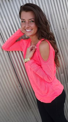 Neon Coral Cold Shoulder Knit | The Rage