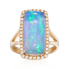 Blue Ethiopian Opal and Diamond Ring