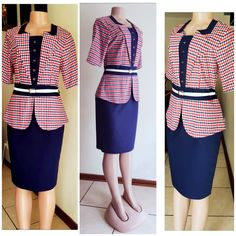 Classic blue red and white. Cute Office, Office Wear, Office Dresses, Dresses For Work, Elegance Boutique, White Peplum, Peplum Dress, Red And White, Elegant