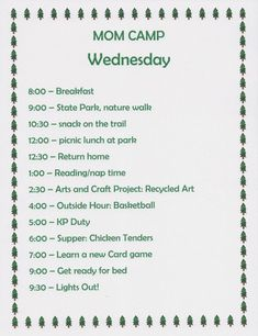 Summer Fun Ideas: Mom Camp Schedule for Kids | WeHaveKids