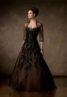 Imagini pentru black ball gowns with sleeves