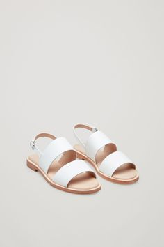 COS image 6 of Leather strap sandals in White