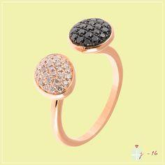 46aead9e7a136 Bague femme Toi et Moi - or rose et diamants noirs et cognacs Diamants  Noirs,. Rullière Bernard