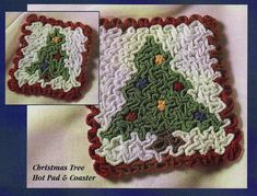 Ravelry: Wiggly Christmas Tree Hot Pad and Coaster pattern by Susan Lowman Crochet Tree, Crochet Christmas Trees, Christmas Knitting Patterns, Holiday Crochet, Crochet Chart, Thread Crochet, Crochet Hooks, Crochet Pillow, Wiggly Crochet Patterns