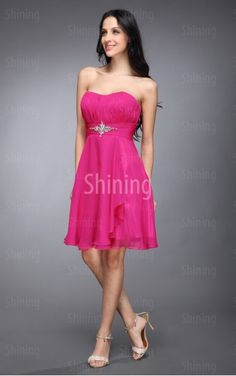 Fuchsia A-line Knee-length Strapless Dress