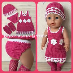 Set with crochet dress for baby born. handmade, dress for doll, Set with crochet dress for baby born. handmade, dress for doll, Knitting Dolls Clothes, Crochet Doll Clothes, Doll Clothes Patterns, Clothing Patterns, Crochet For Boys, Crochet Baby, Free Crochet, Baby Born Kleidung, Baby Born Clothes