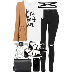 Outfit with jeans and a blazer by ferned on Polyvore featuring polyvore, fashion, style, Sincerely, Jules, Zara, Topshop, AllSaints, Casio, ASOS and Casetify