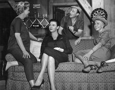 "Elizabeth Fraser, Gia Scala, director Gene Kelly and Doris Day on the set of ""The Tunnel of Love"", 1958"
