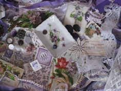 Violets In The Snow Vintage Inspiration Kit With China by kbuda, $62.50
