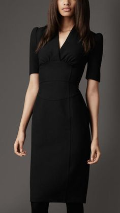 Burberry Structured Pencil Dress in Black