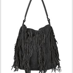 NEW Topshop Suede Fringe Shoulder Purse Bag Brand New without tags Topshop suede fringe purse! Awesome charcoal/navy color. Front fringe detail. The length is 13 inches, 12 inches wide. Perfect size! Retails for $150. No trades! Topshop Bags Shoulder Bags